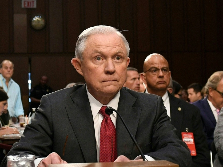 Attorney General Jeff Sessions arrives to testify during a Senate Select Committee on Intelligence hearing on Tuesday. (Saul Loeb/AFP/Getty Images)