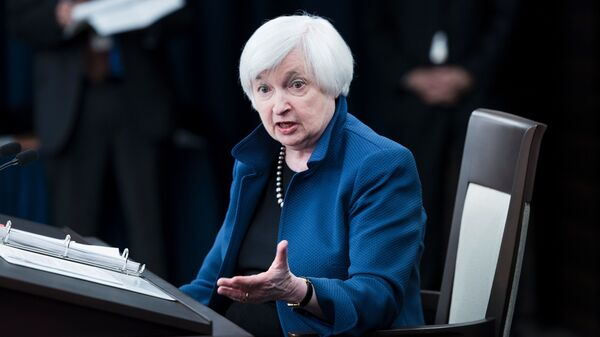 Federal Reserve Board Chair Janet Yellen speaks during a briefing on March 15 in Washington, D.C.