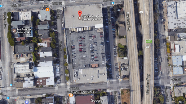The UPS facility where the shooting unfolded in San Francisco on Wednesday.