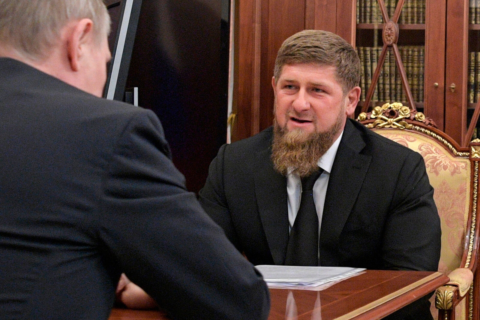 Chechnya's leader Ramzan Kadyrov met with Russian President Vladimir Putin at the Kremlin in April and denied reports that gay men were being targeted or mistreated. (Alexei Druzhinin/AP)