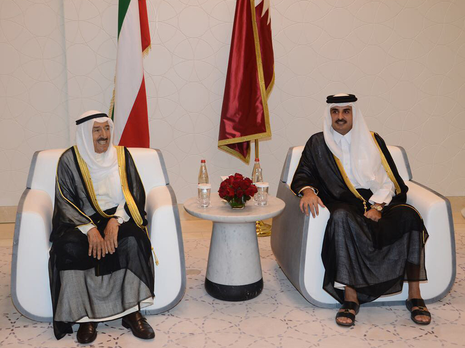 Kuwaiti Emir Sheikh Sabah Al Ahmad Al Jaber Al Sabah (left) met with Qatari Sheikh Tamim bin Hamad Al Thani in Doha, Qatar, earlier this month as the Kuwaiti leader tried to mediate an end to the regional crisis. But analysts warn there will be no quick or easy resolution. (AP)