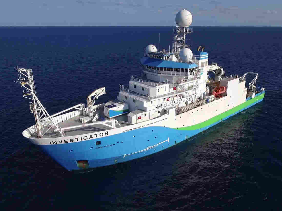 The marine research vessel Investigator at sea.