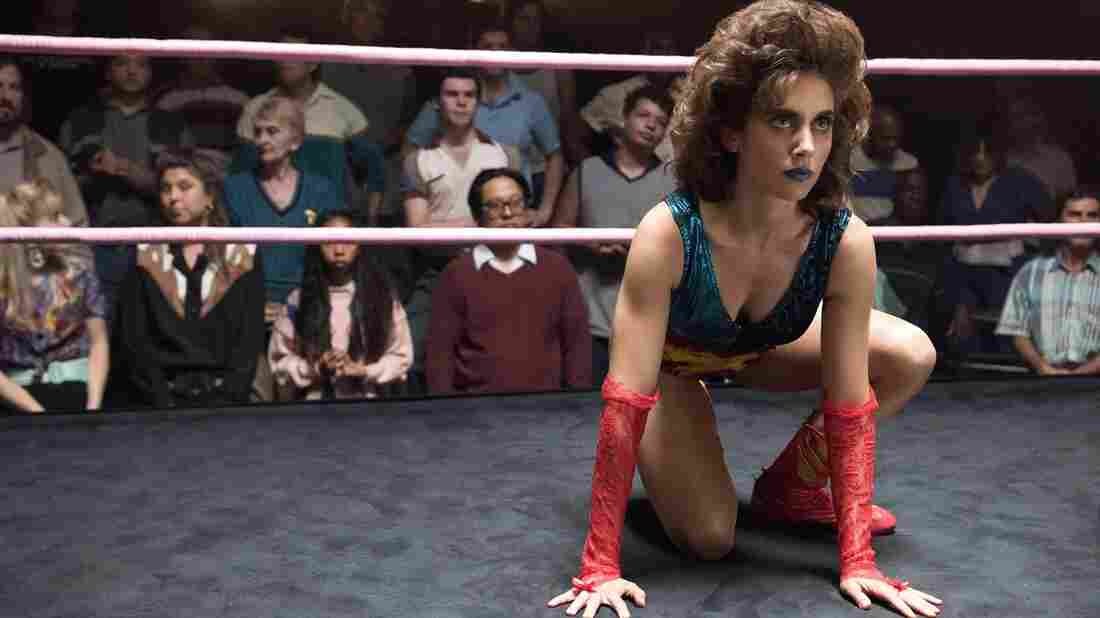 Ruth (Alison Brie) in the fighting ring on Glow.