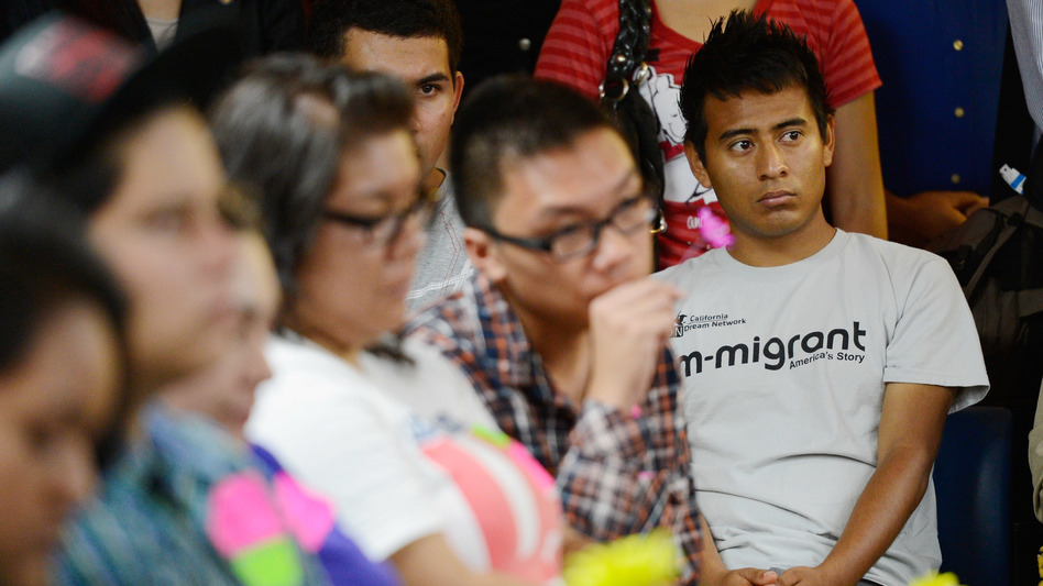 """Immigrants who were brought to the U.S. illegally as children, known as """"Dreamers,"""" listen to the kick off of the Obama administration's Deferred Action for Childhood Arrivals program in 2012. (Kevork Djansezian/Getty Images)"""