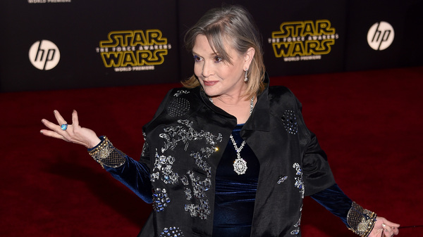 Actress Carrie Fisher attends the December 2015 premiere of Star Wars: The Force Awakens at the Dolby Theatre in Hollywood, Calif.