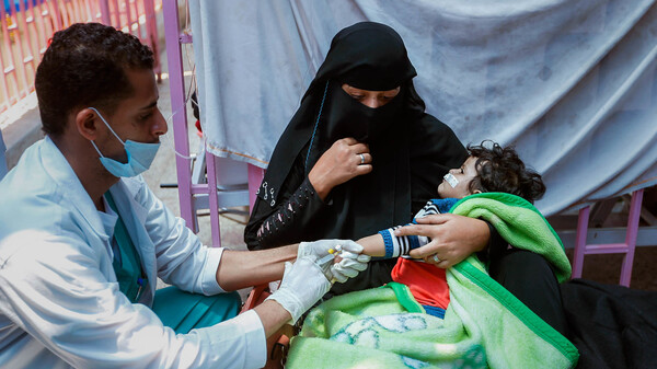 A Yemeni child suspected of being infected with cholera is treated at a hospital in Sanaa on May 6, 2017.