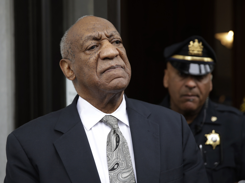 Bill Cosby exits the Montgomery County Courthouse after a mistrial was declared in his sexual assault trial in Norristown, Pa., Saturday.