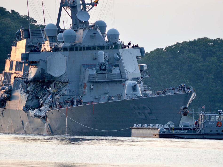 The USS Fitzgerald returns to Fleet Activities Yokosuka following a collision with a merchant vessel while operating southwest of Yokosuka, Japan. (MC1 Peter Burghart/U.S. Navy)