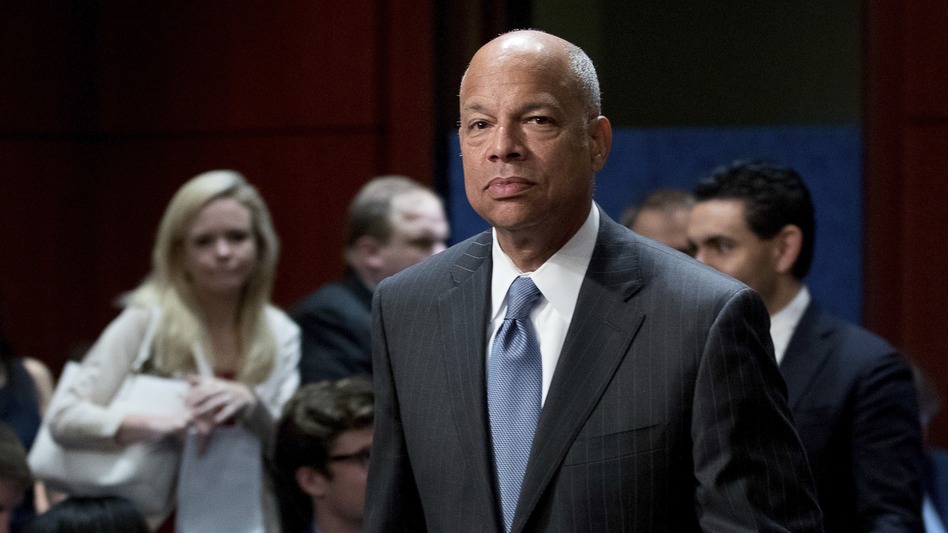 Former Department of Homeland Security Secretary Jeh Johnson arrives to testify before the House Intelligence Committee on Wednesday. (Andrew Harnik/AP)