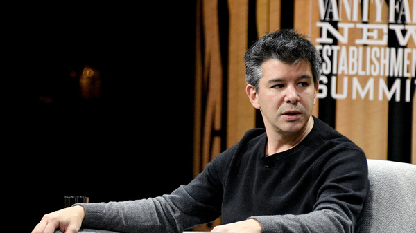Uber co-founder Travis Kalanick, pictured here at a Vanity Fair summit in October 2016, resigned abruptly this week as the company