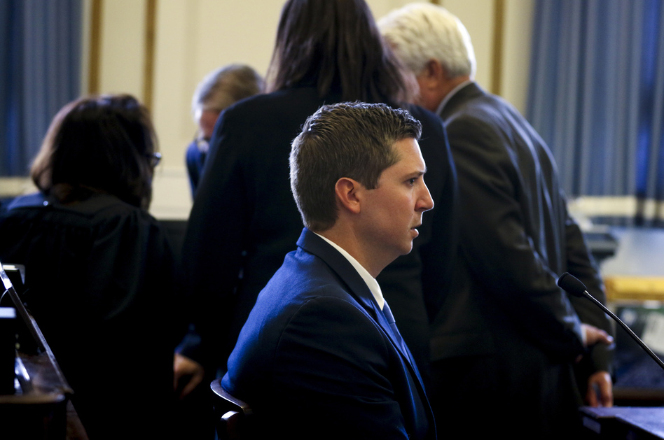 Ray Tensing, the former University of Cincinnati police officer, testifying on the seventh day of his retrial in Hamilton County Common Pleas earlier this month at the Hamilton County Courthouse in Cincinnati. (Cara Owsley/AP)