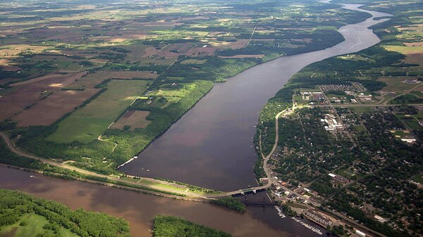 The confluence of the St. Croix, top, and Mississippi Rivers, bottom, is seen from the air on May 31, 2012.