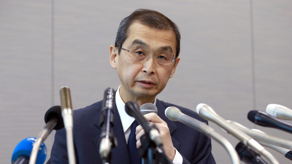 Takata Corp. CEO Shigehisa Takada speaks during a press conference in Tokyo, Monday, as the Japanese air bag maker announces filing for bankruptcy protection in Tokyo and the U.S., The company has been under financial pressure from lawsuits and recall costs related to its of defective air bag inflators.