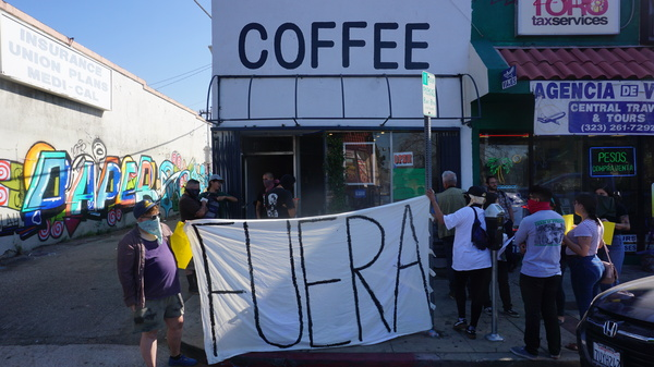 "Anti-gentrification activists staged a protest outside of Weird Wave Coffee Brewers recently, chanting ""Weird Cafe has got to go."""