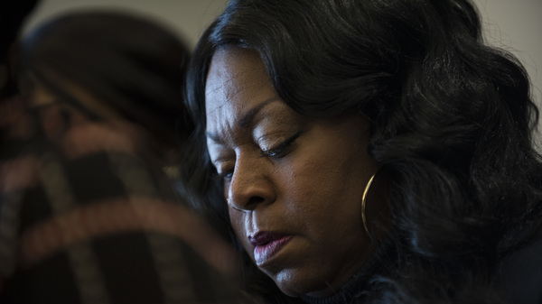 Valerie Castile, mother of Philando Castile, listens during a November 2016 news conference in Minneapolis. On Monday, she reached a near $3 million settlement from the city of St. Anthony, Minn., over the killing of her son by a city police officer.