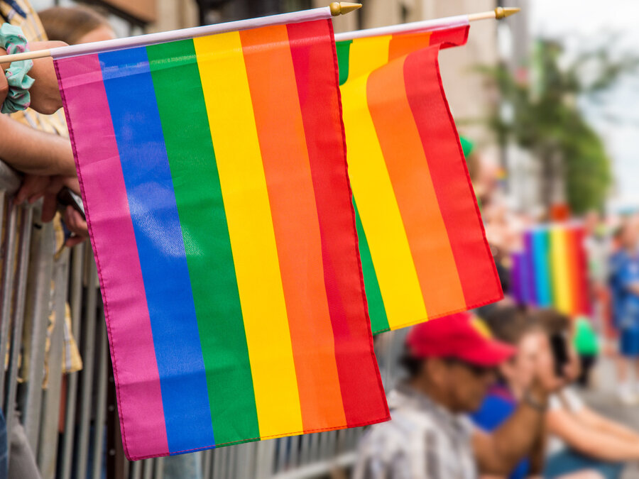 Rainbow flags at Montreal gay pride parade.