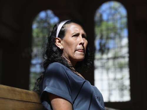 Jeanette Vizguerra, 45, took sanctuary at the First Baptist Church on May 5, 2017, in Denver.     (John Moore/Getty Images)