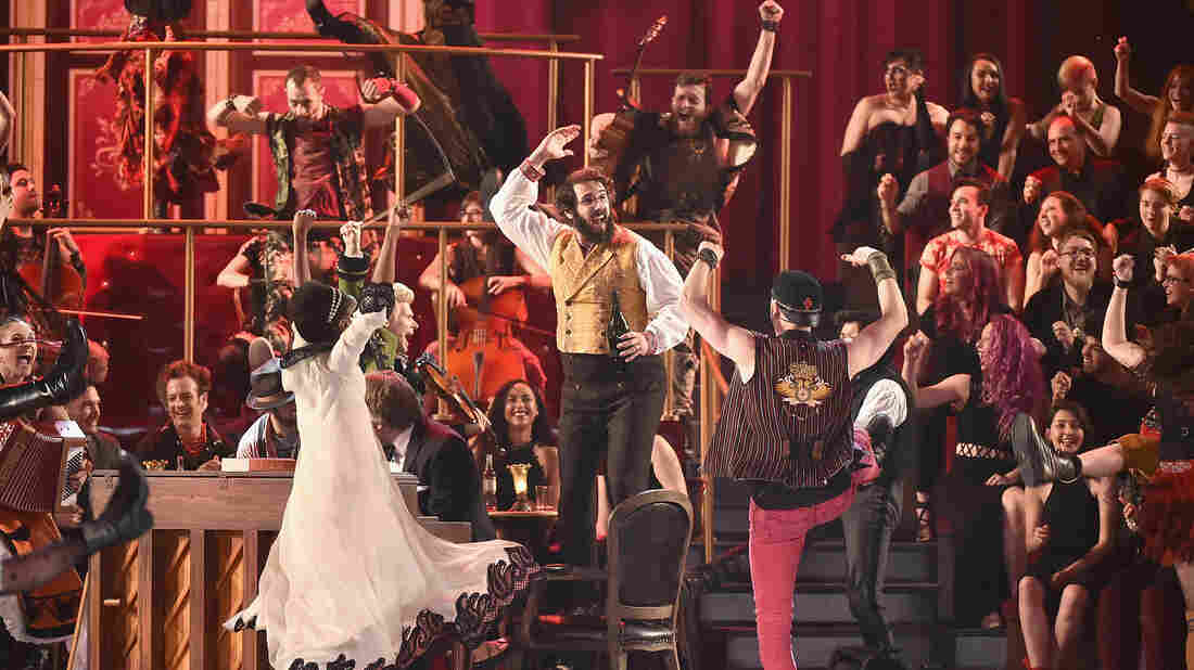 "The cast of ""Natasha, Pierre and The Great Comet of 1812"" performs during the 2017 Tony Awards."