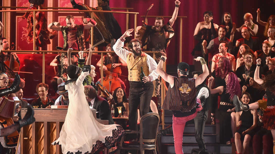 """The cast of """"Natasha, Pierre and The Great Comet of 1812"""" performs during the 2017 Tony Awards."""