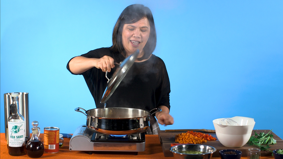 Chef and journalist Wilma Consul cooks picadillo, a dish she learned to make as a young girl in the Philippines. (NPR)