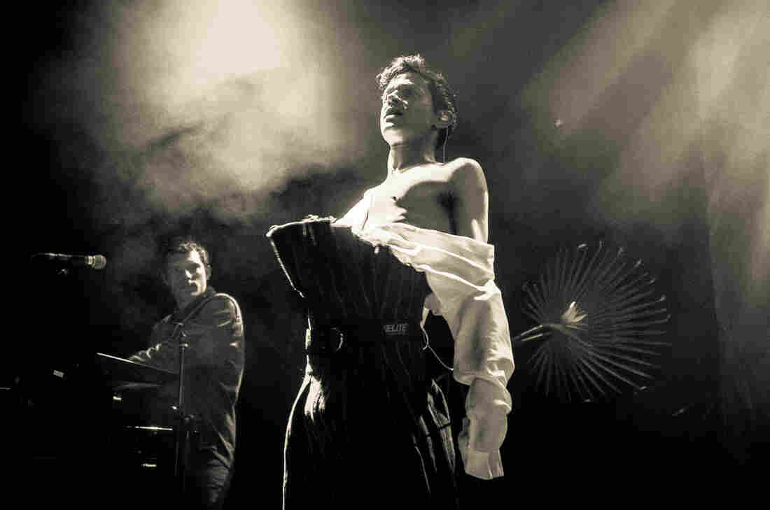 Alan Wyffels (left) and Mike Hadreas performing as Perfume Genius in Washington, D.C.
