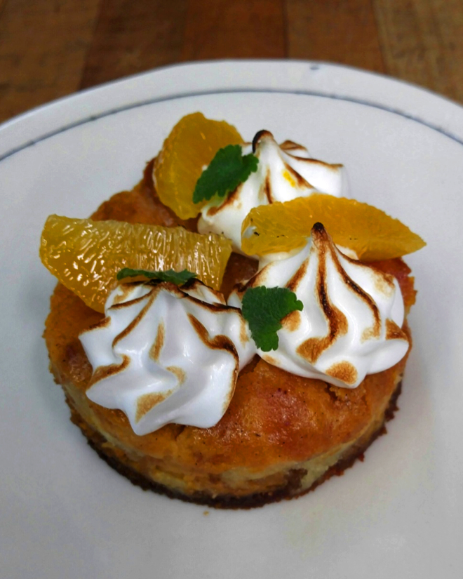 Krispy Kreme & Sweet Potato Pudding with Orange & Meringue