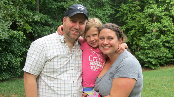 Clara Hardy (middle) with her parents, Robert and Chrissy. Clara, who lives in North Carolina, needed expensive surgery and other procedures right after birth to save her life. The family