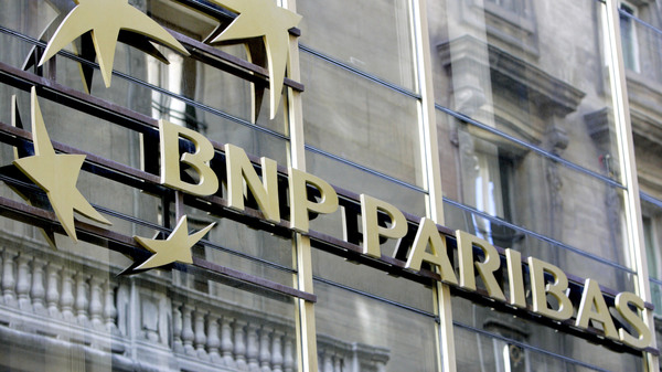 The BNP Paribas logo at the headquarters of the French bank in Paris in 2009.