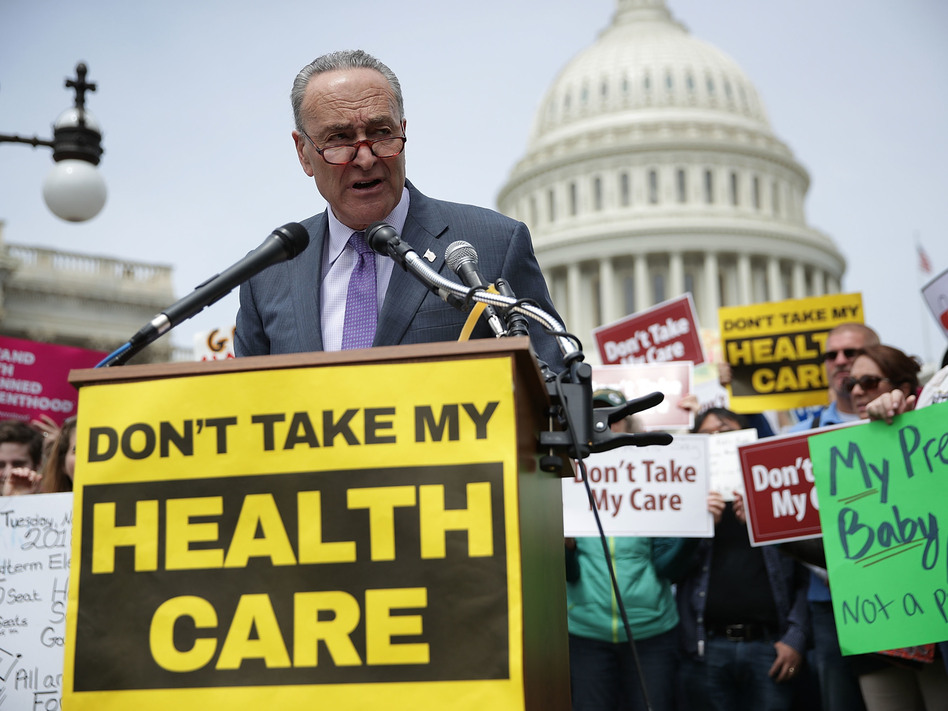 Senate Minority Leader Chuck Schumer, D-N.Y., speaks during a Stop 'Trumpcare' rally in front of the Capitol in Washington, D.C. in May. (Alex Wong/Getty Images)
