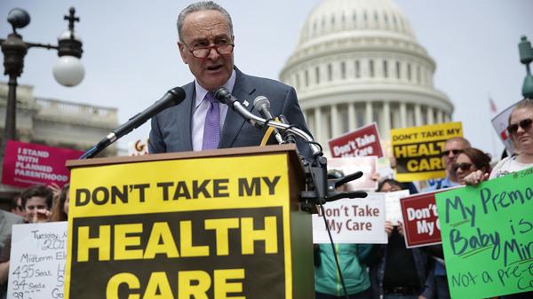 Senate Minority Leader Chuck Schumer, D-N.Y., speaks during a Stop