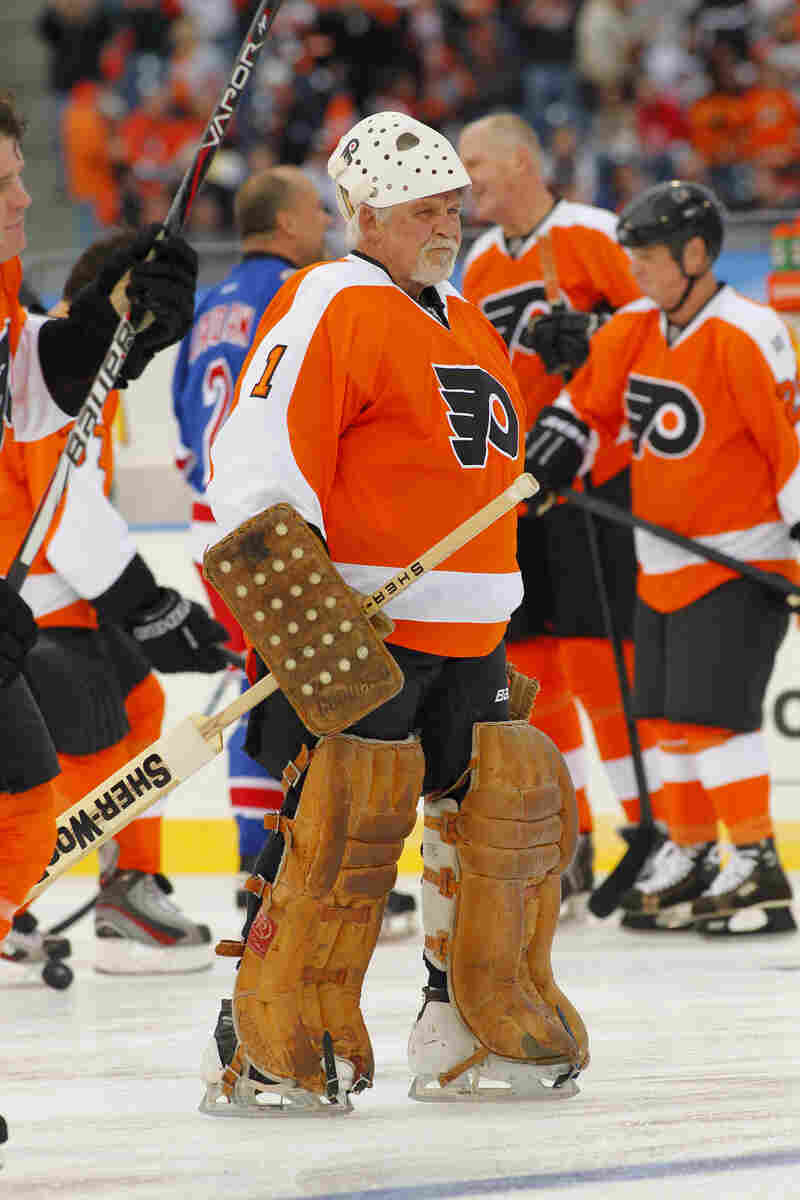 Bernie Parent, of the Philadelphia Flyers Alumni team, wearing his original protective equipment, waits for the start of the Winter Classic Alumni hockey game on Dec. 31, 2011 in Philadelphia.