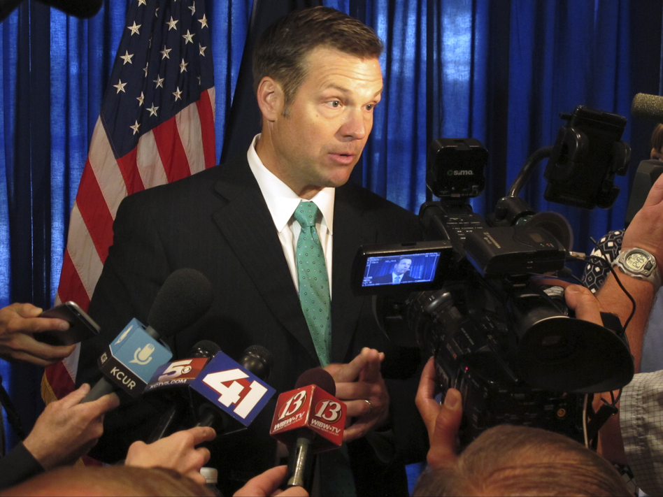 Kansas Secretary of State Kris Kobach, seen earlier this month, says he is among the state officials who isn't able to provide all the voter identification details the national commission he vice-chairs is seeking. (John Hanna/AP)