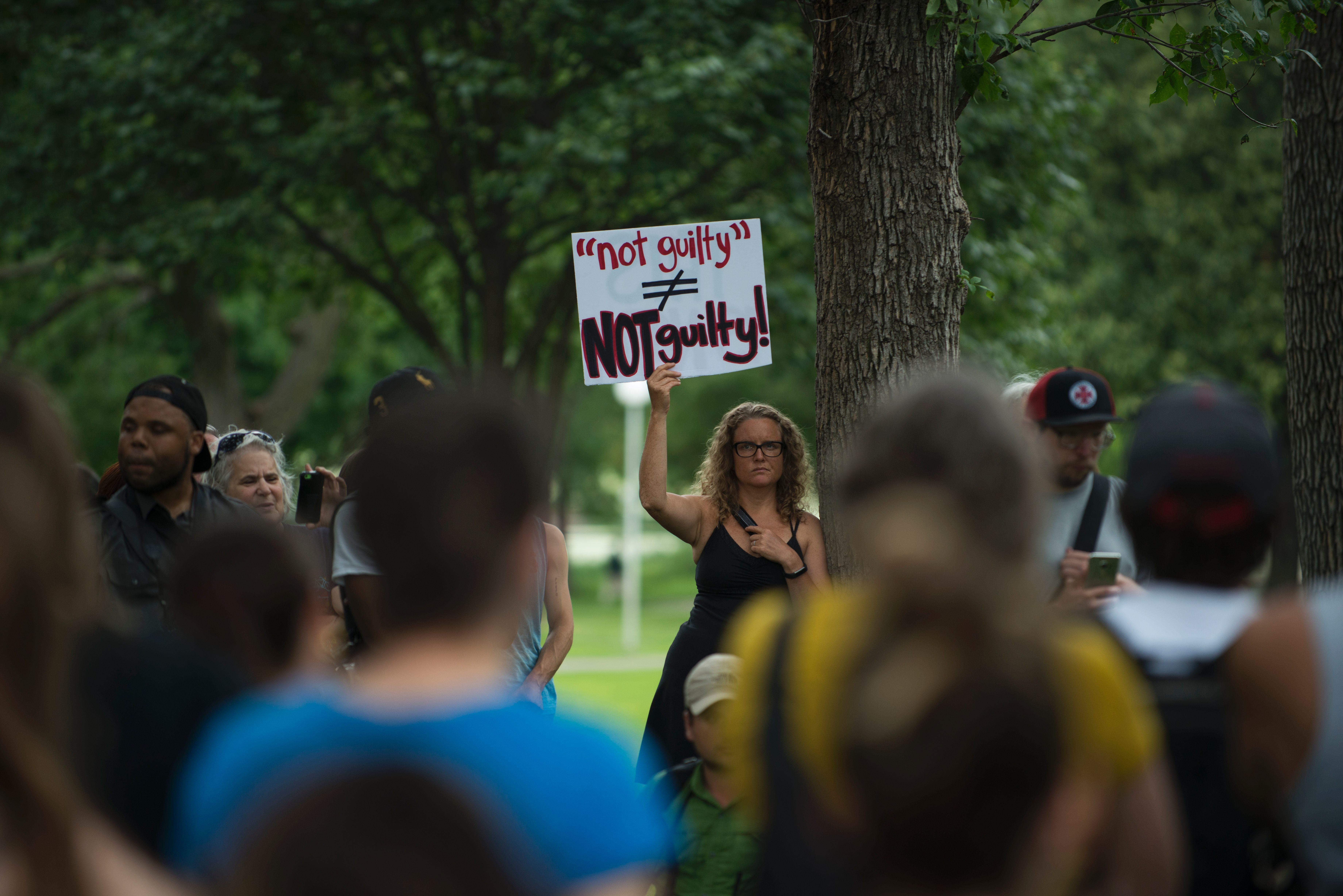 Protesters gather in Loring Park on July 17, 2017 in Minneapolis. Demonstrations took place for several days after a jury acquitted police officer Jeronimo Yanez, 29, in the shooting death of 32-year-old Philando Castile during a traffic stop in July 2016. (Stephen Maturen /AFP/Getty Images)