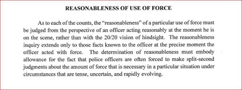 The 'Reasonable Force' section of the instructions given to jurors in the Jeronimo Yanez trial. (MPR News)