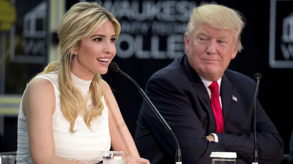 President Trump listens as his daughter, Ivanka Trump, speaks at a workforce development roundtable at Waukesha County Technical College in Pewaukee, Wisc., on June 13, 2017. (Andrew Harnik/AP)
