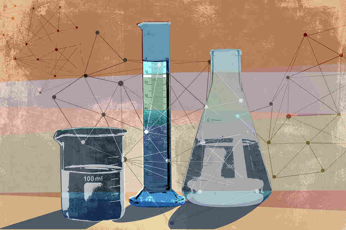 Network pattern connecting science beakers