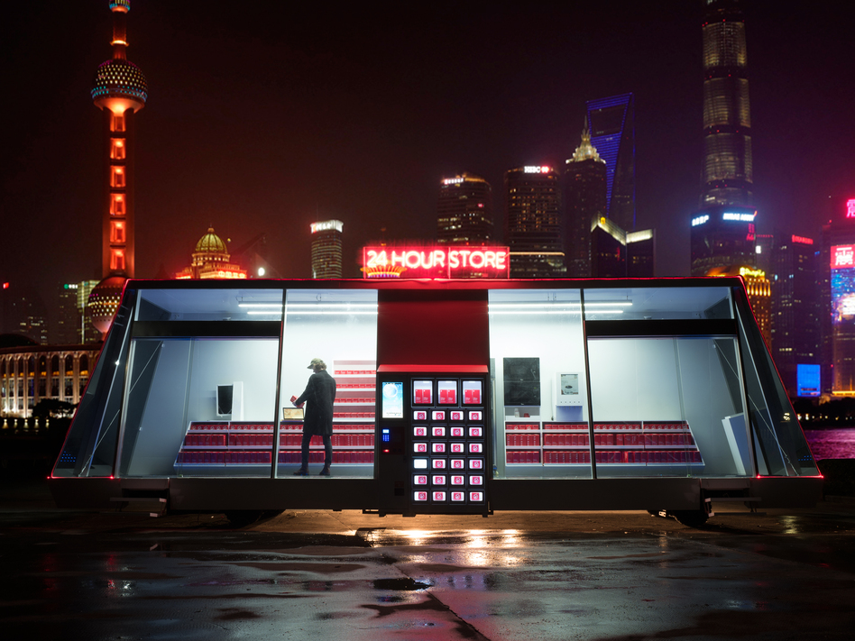 A prototype Moby Mart is being tested in Shanghai. Per Cromwell, the project's lead designer, says four to six additional mobile supermarkets are planned in the coming year. (Moby Mart)