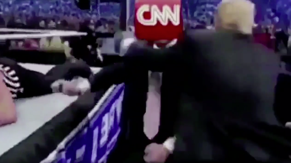 A Reddit post of a man in a business suit with the CNN logo for a head getting demolished by Trump in a wrestling match, was shared by the president himself on Twitter Sunday morning. (HanAssholeSolo/Screenshot by NPR)