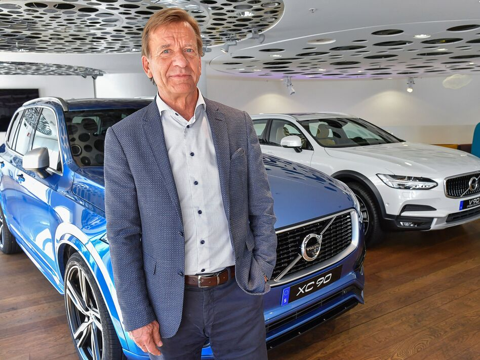 Volvo CEO Hakan Samuelsson announced that all Volvo cars will be electric or hybrid within two years. Above, Samuelsson at Volvo Cars Showroom in Stockholm on Wednesday. (Jonas Ekstromer/AFP/Getty Images)