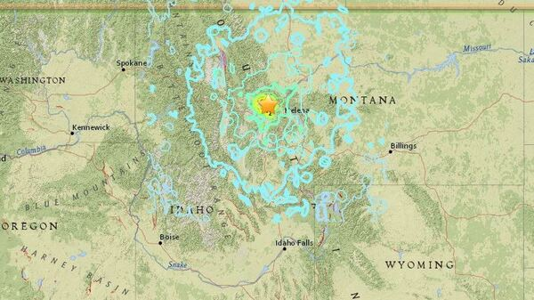 A map shows seismic activity around the site of a 5.8 magnitude earthquake that struck in western Montana early Thursday.