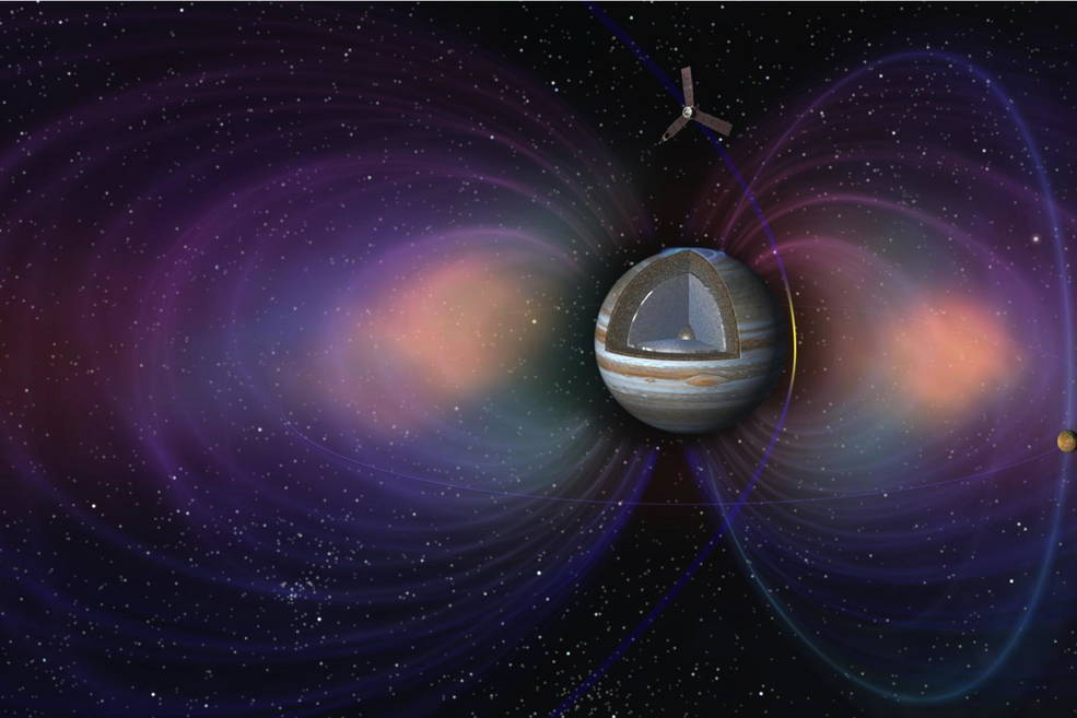 This artist's concept shows the pole-to-pole orbits of NASA's Juno spacecraft at Jupiter.