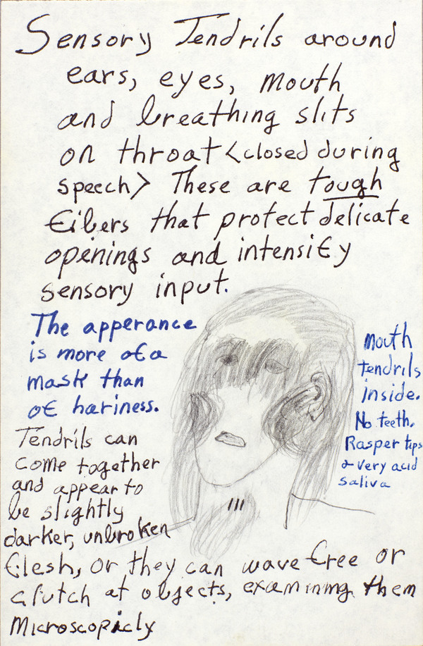 A detail from notes Butler made for the Oankali, characters from the Xenogenesis trilogy.