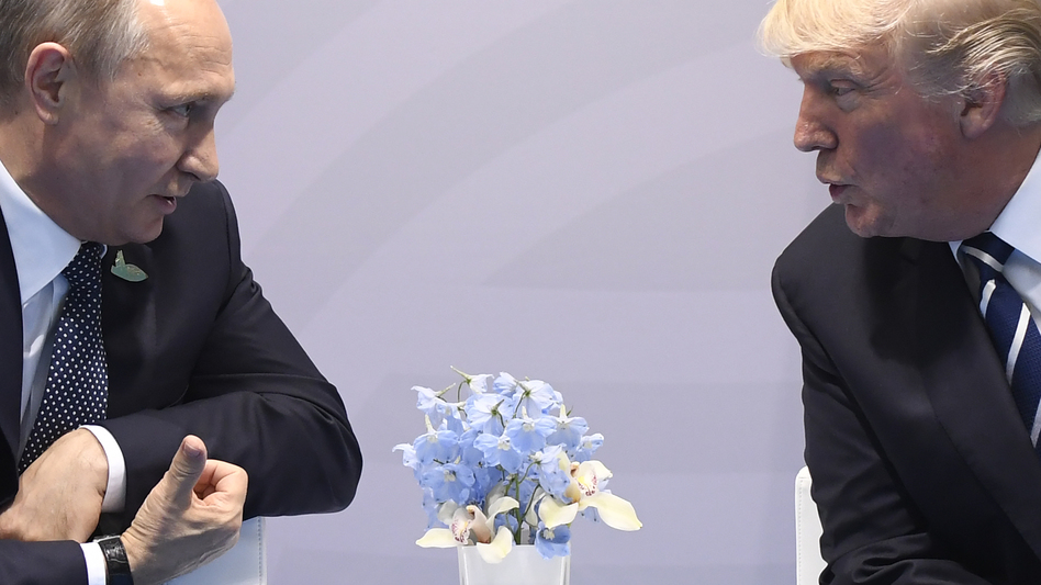 President Donald Trump says he and Russian President Vladimir Putin agreed to form a joint cyber security unit during their talks at the G-20 Summit in Hamburg, Germany. (Saul Loeb/AFP/Getty Images)