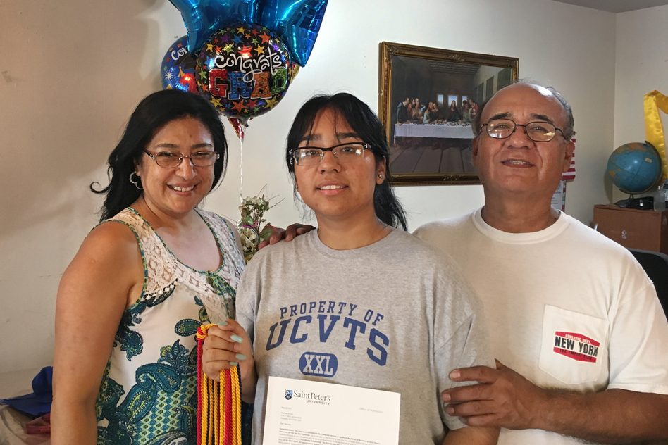 Desiree Armas (center) and her parents, Olga and Carlos Armas, left Peru when Desiree was 3 years old. Her immigration status made finding financial aid for college complicated. (Joel Rose/NPR)