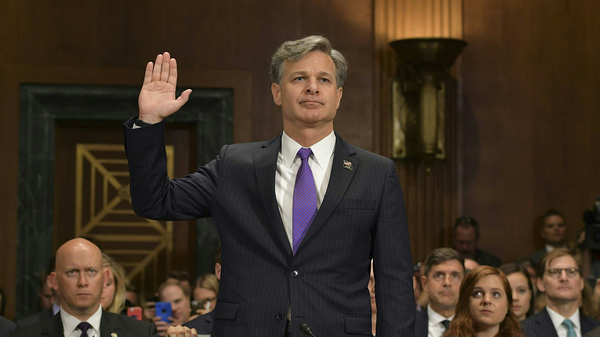 Christopher Wray is sworn in for his testimony before the Senate Judiciary Committee on his nomination to be the director of the Federal Bureau of Investigation.
