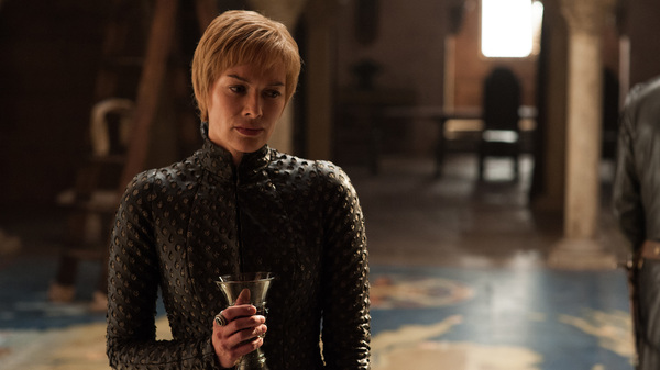 """Pinot Noir!/Lann-is-star!/Have-I per-haps gone too-far?"": Queen Cersei (Lena Headey) takes a sip or twelve of wine in the premiere episode of Game of Thrones"