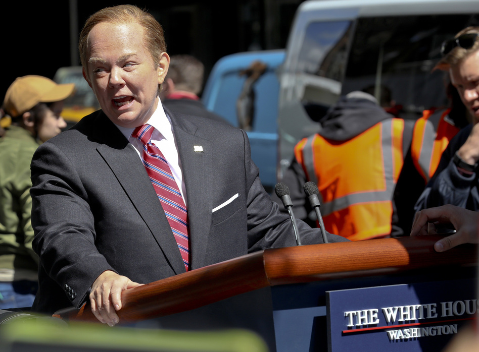 <em>Saturday Night Live</em> was nominated for 22 Emmy Awards. Here, Melissa McCarthy portrays White House spokesman Sean Spicer in a special segment taped in May. (Bebeto Matthews/AP)
