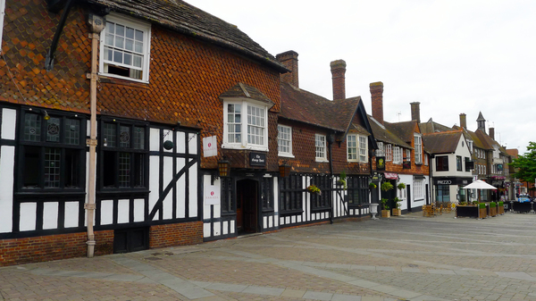The George Hotel, a 17th century stagecoach inn, is one of the few historic buildings on Crawley