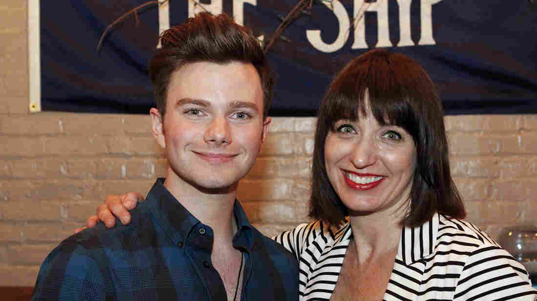 Chris Colfer with host Ophira Eisenberg on Ask Me Another at The Bell House in Brooklyn, New York.