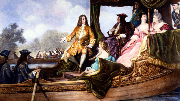 A portrait of George Frideric Handel, presenting his Water Music to King George I.